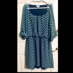 Teal and Navy Chevron Midi Dress by Speechless
